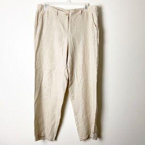 EILEEN FISHER • Wide Leg Beige Linen Pants Sz L
